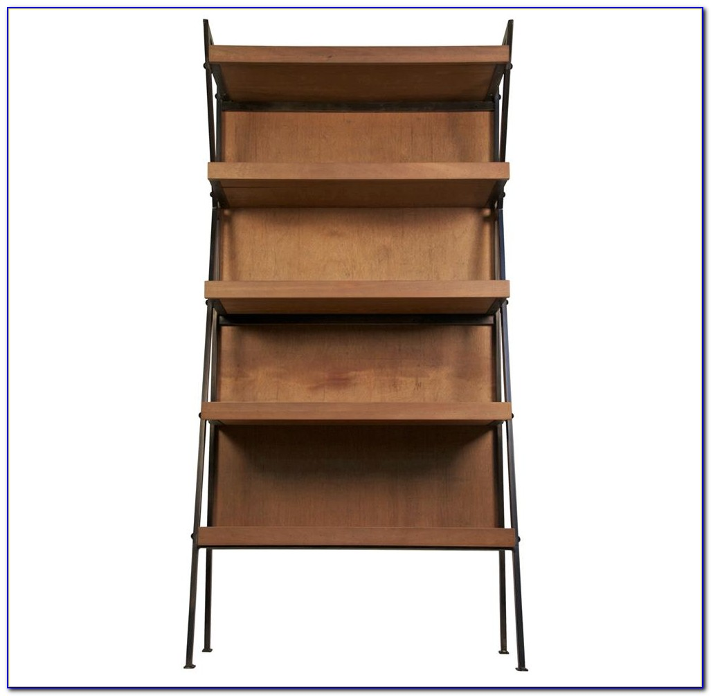 Distressed Wood And Metal Bookcase