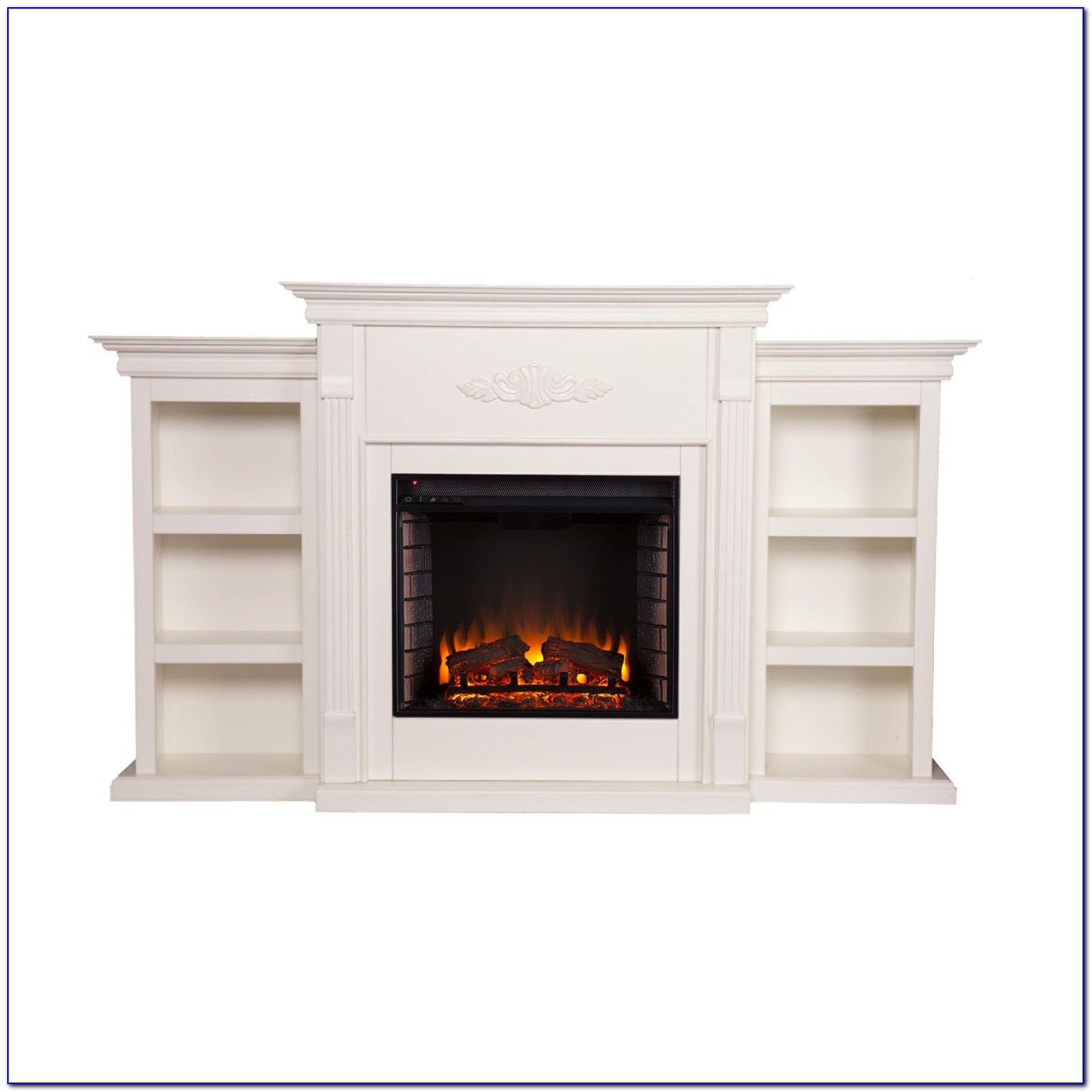 Electric Fireplace With Bookcase Mahogany
