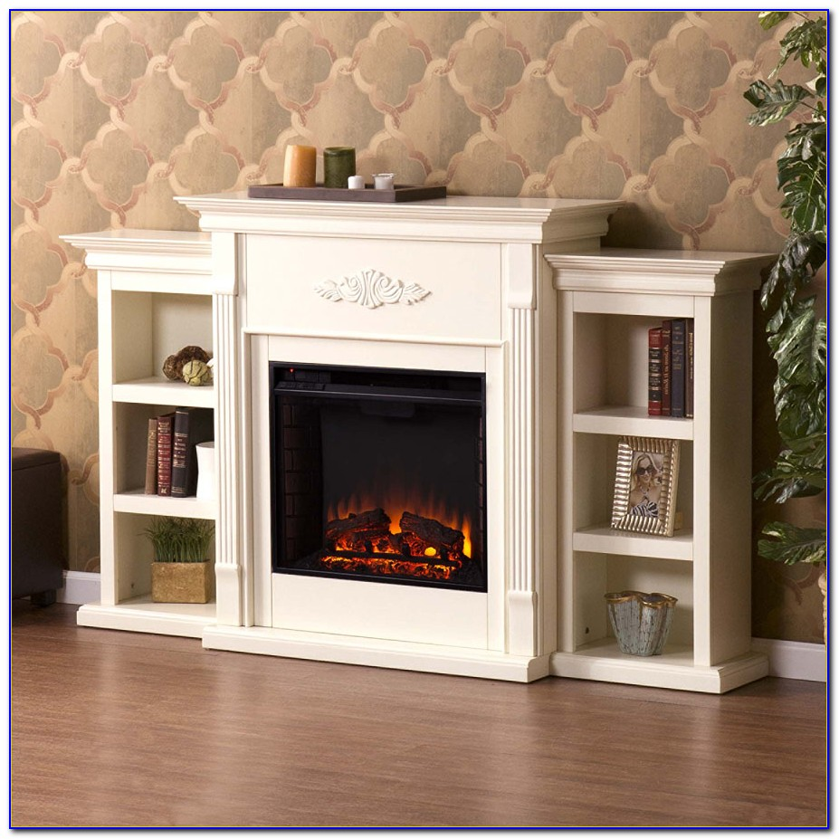 Electric Fireplace With Bookcases White