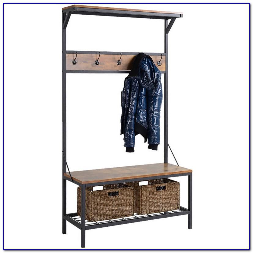 Entryway Storage Bench Coat Rack