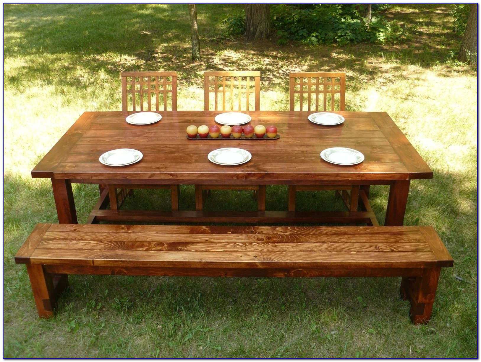 Farm Style Dining Table With Bench