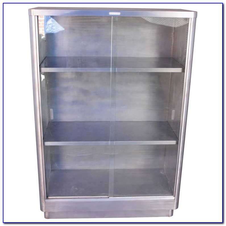 Glass Front Bookcase White