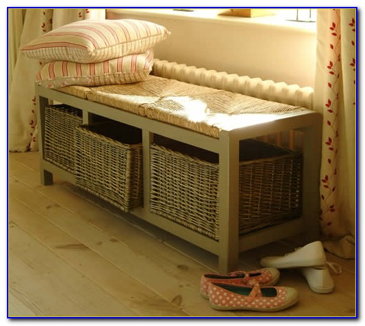 Hall Bench With Basket Storage