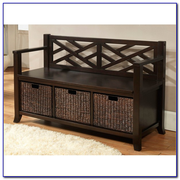 Hall Bench With Baskets