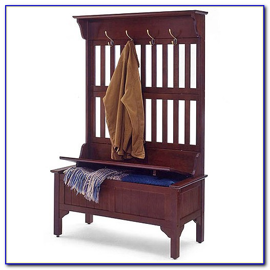 Hall Storage Bench With Hooks