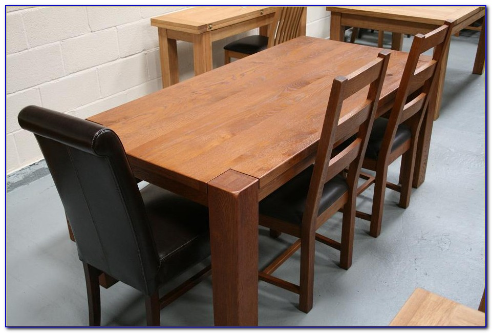 Large Oak Dining Table And Benches