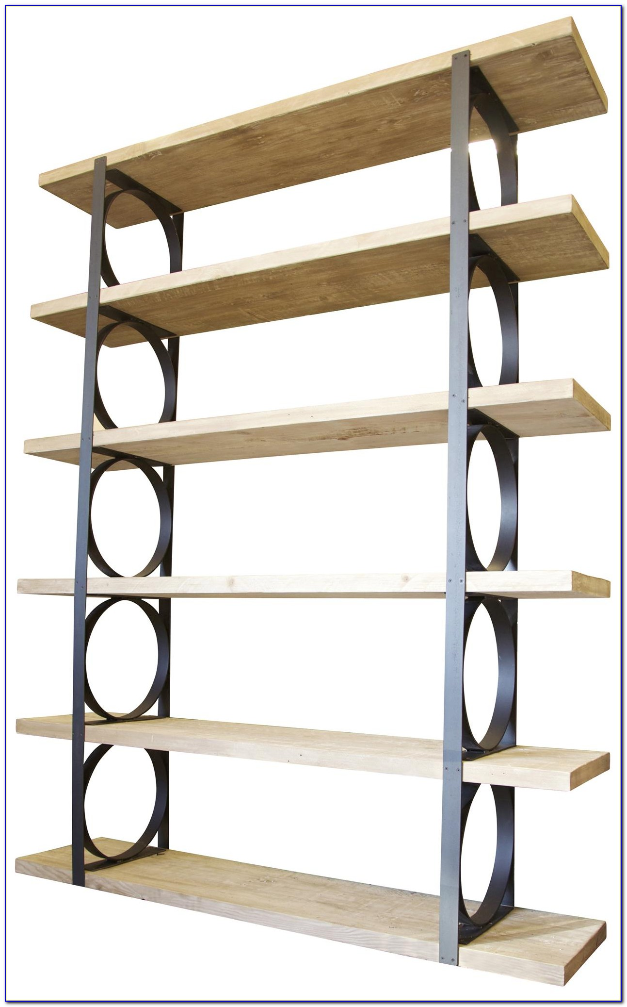 Metal And Wood Bookcase With Ladder
