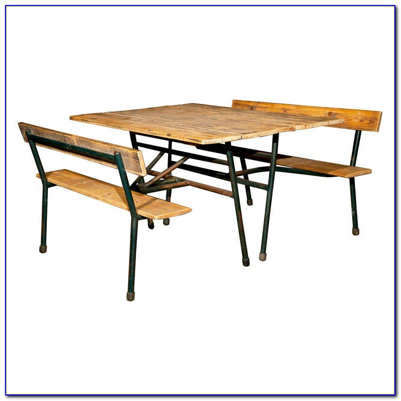Metal Picnic Table With Attached Benches