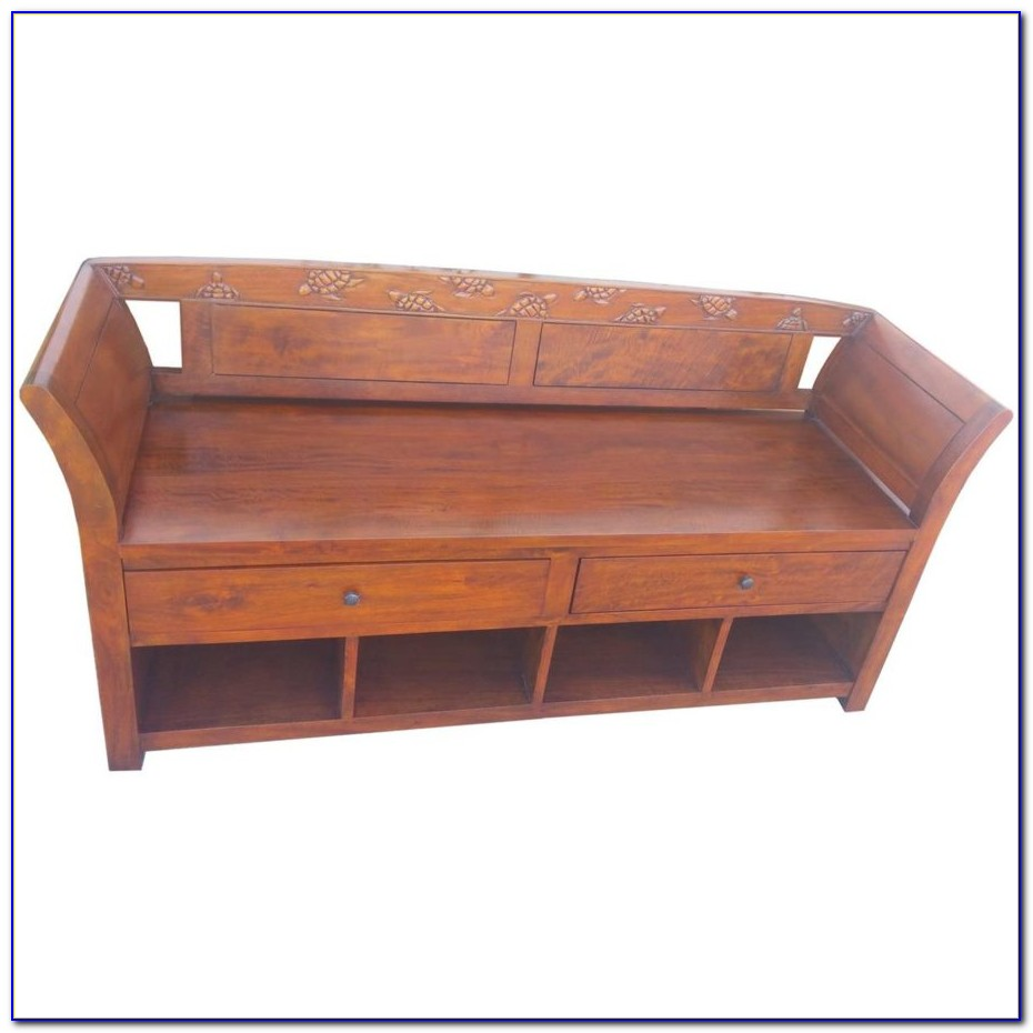 Mission Style Bench With Seat Cushion And Shoe Storage