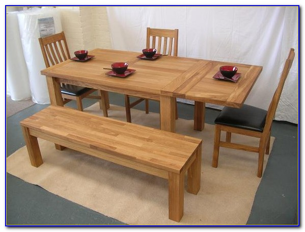 Oak Dining Table Bench Set