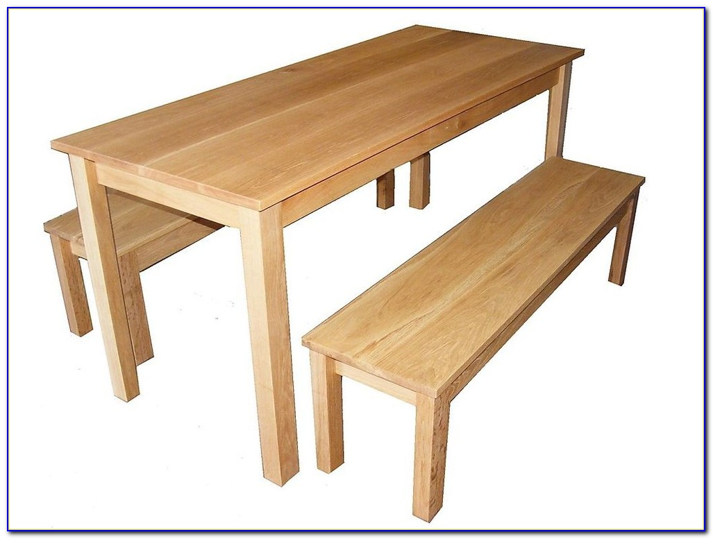 Oak Garden Table And Benches