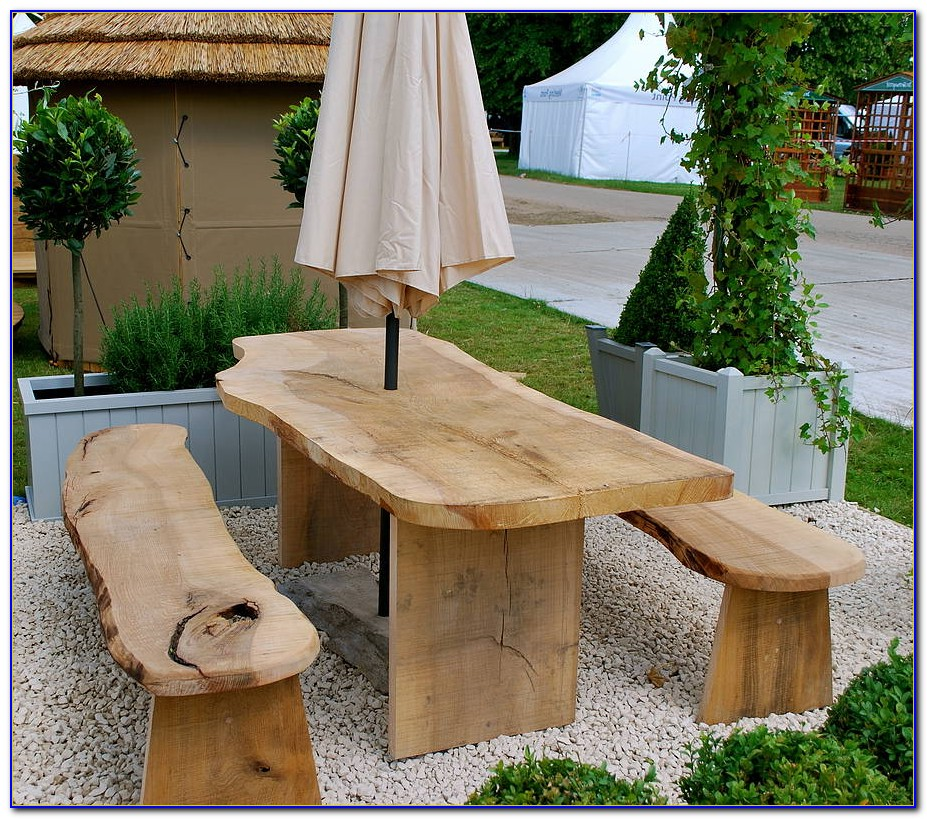 Outdoor Wood Table And Benches