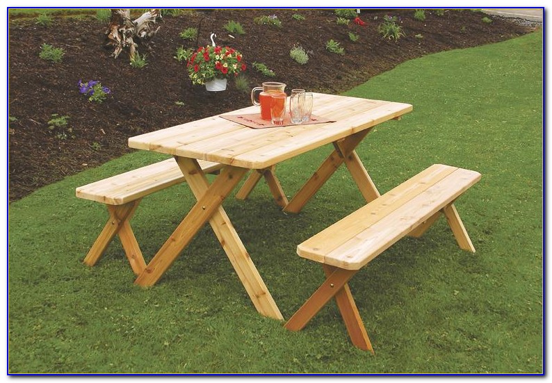 Outdoor Wood Table Bench Set