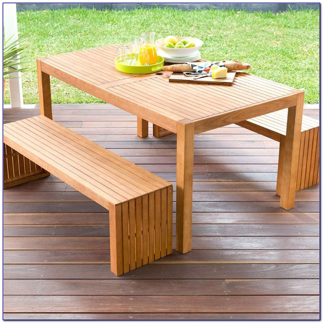 Outdoor Wooden Table And Bench Set