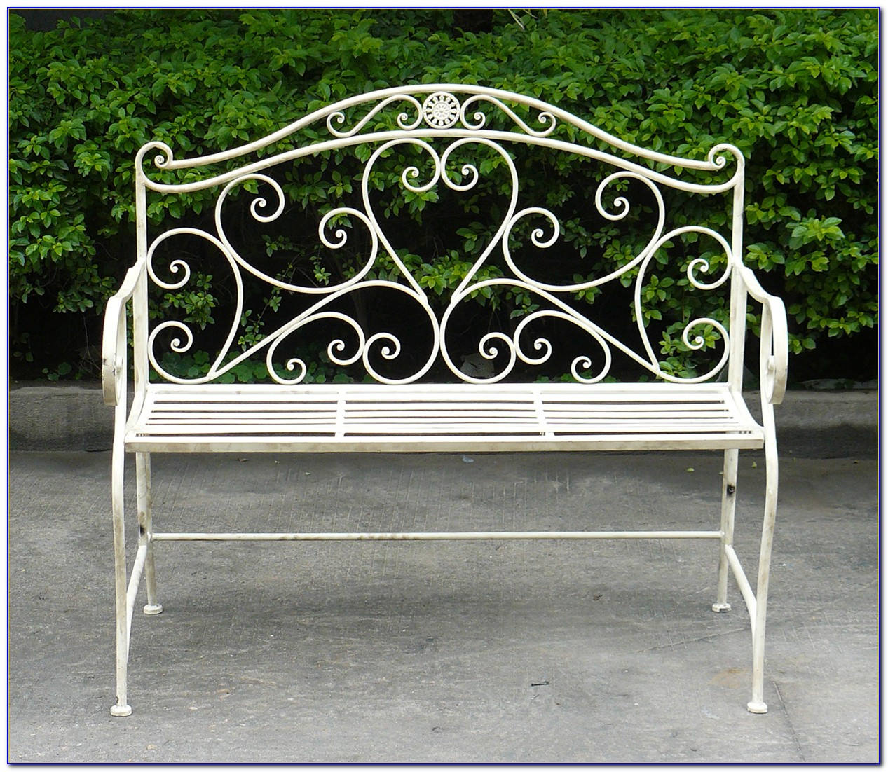 Outdoor Wrought Iron Bench Seat