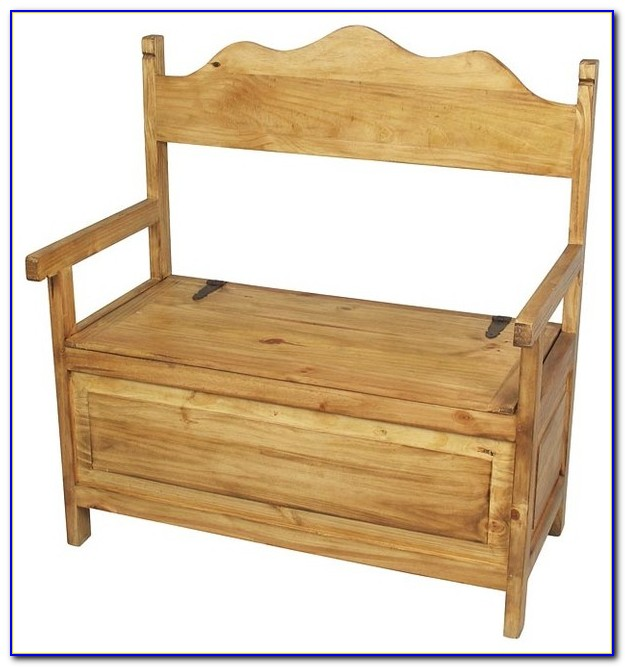 Pine Bench With Shoe Storage