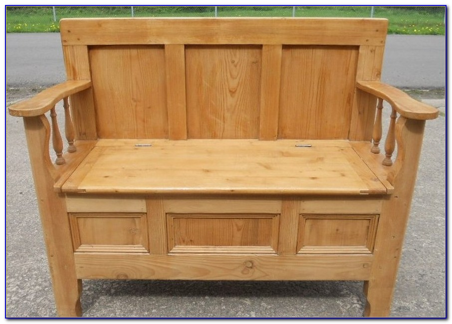 Pine Storage Bench With Drawers