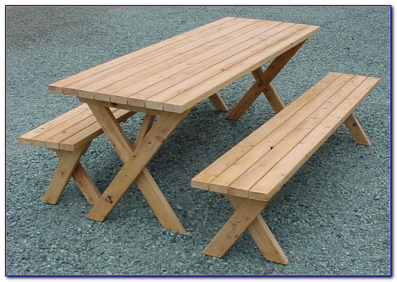 Plastic Picnic Table With Attached Benches