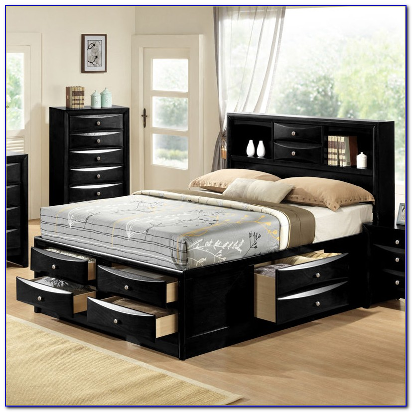 Queen Platform Storage Bed With Bookcase Headboard