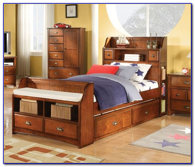 Queen Size Storage Bed With Bookcase Headboard