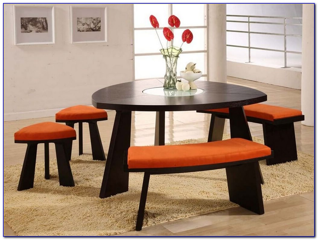 Round Dining Table With Curved Bench Seating