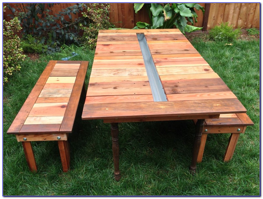 Round Wood Picnic Table And Benches