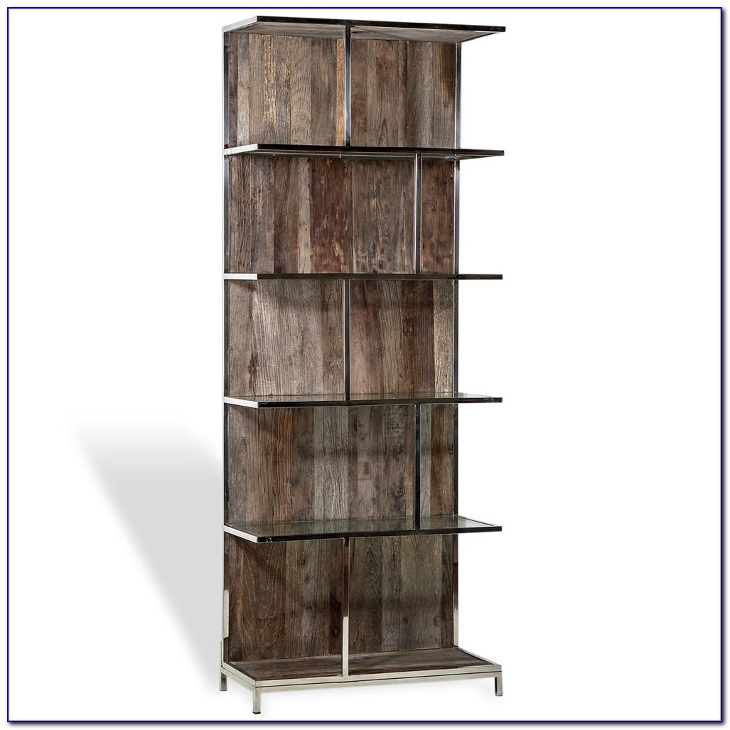 Rustic Metal And Wood Bookcase