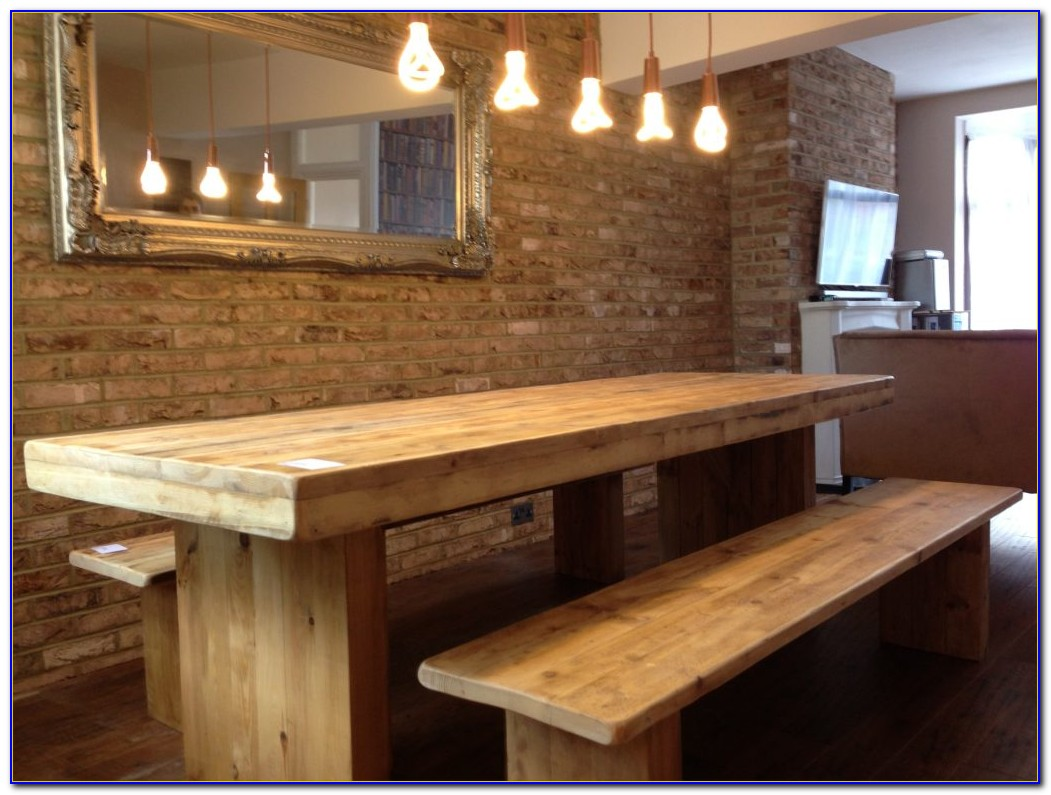 Rustic Oak Table And Benches