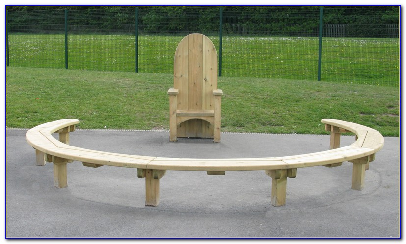 Semi Circular Wooden Garden Bench