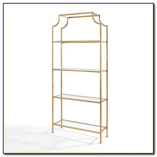 Silver Metal And Glass Bookcase