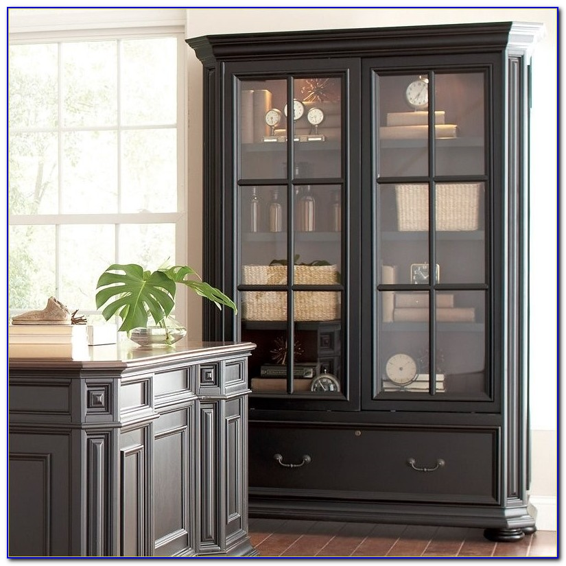 Sliding Door Bookcase With Drawer