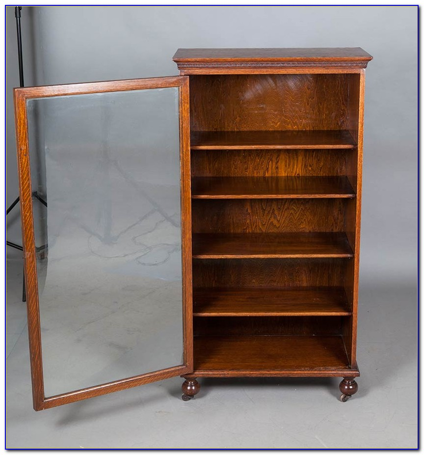 Small Antique Bookcase With Glass Doors