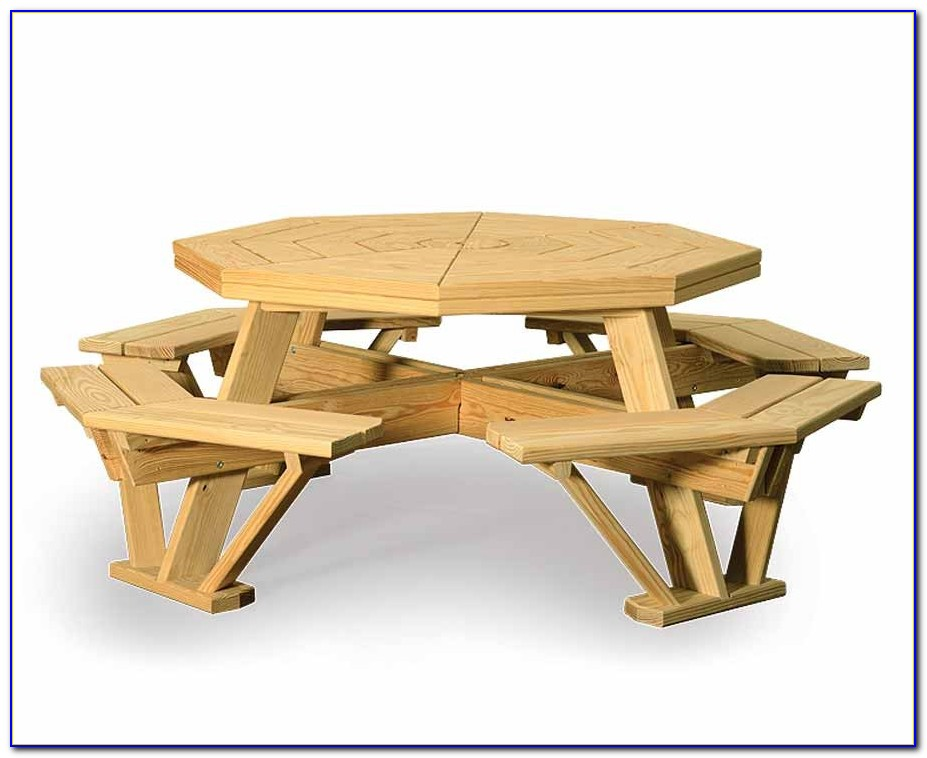 Square Picnic Table With Attached Benches