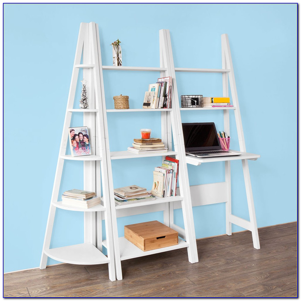 Triple Bookcase With Ladder And Rail