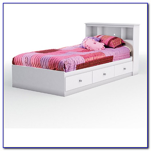 Twin Bed With Bookcase Headboard And Trundle