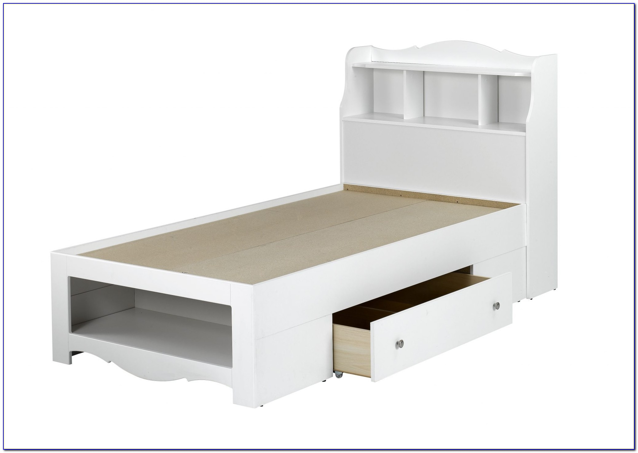 Twin Captains Bed With Storage And Bookcase Headboard