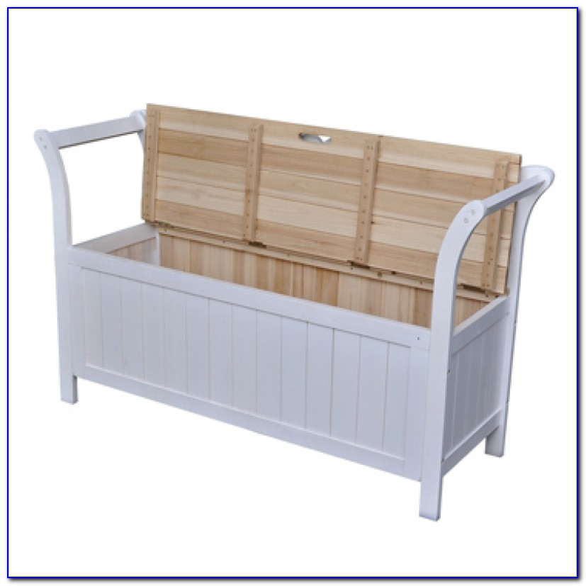 White 2 Seater Storage Bench