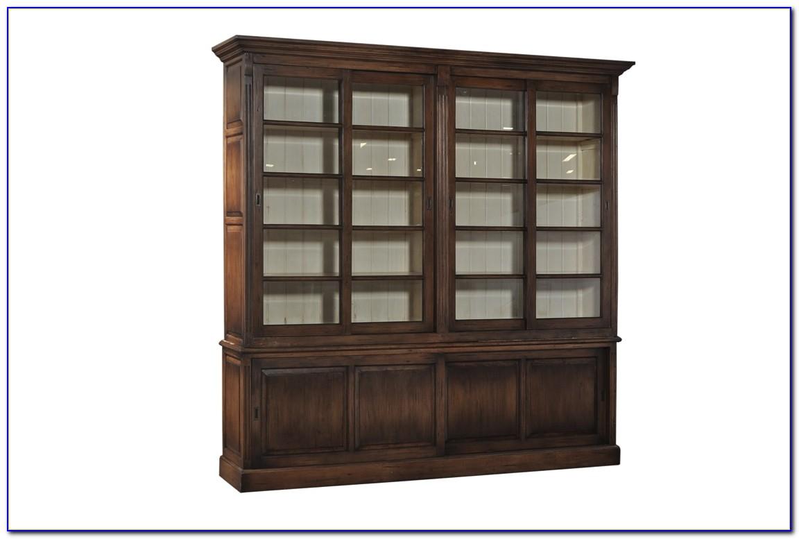 White Bookcase With Sliding Doors