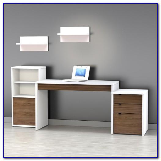 White Computer Desk With Bookcase