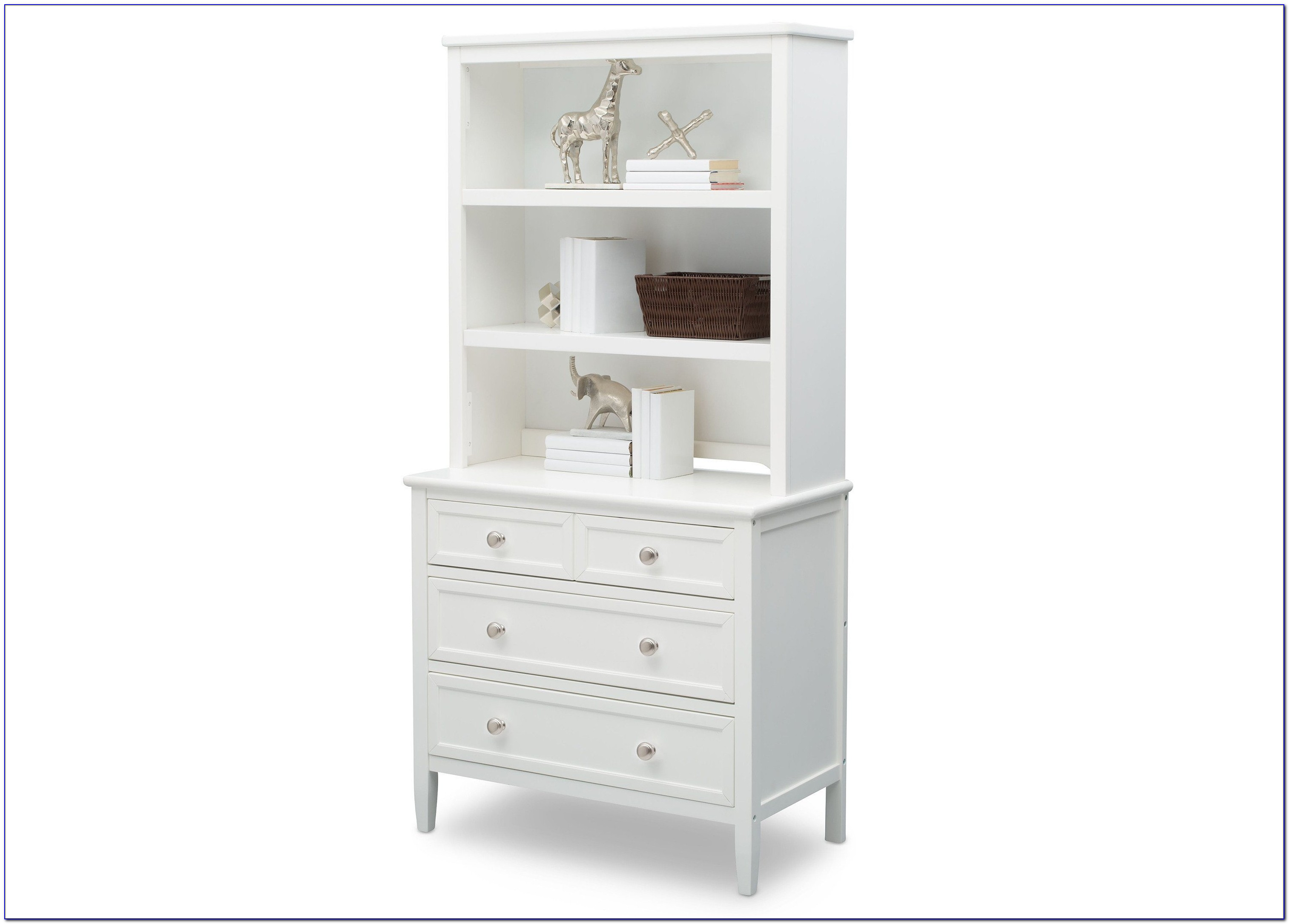 White Dresser With Bookcase