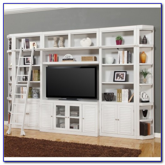 White Entertainment Center With Bookcase
