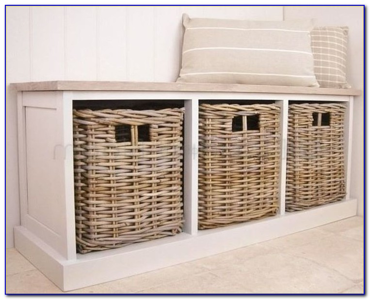 White Hall Bench Storage With Baskets