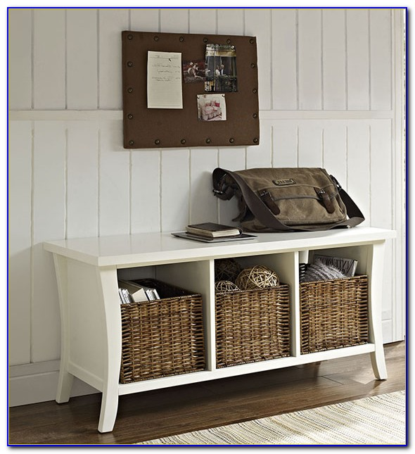 White Hall Bench With Baskets