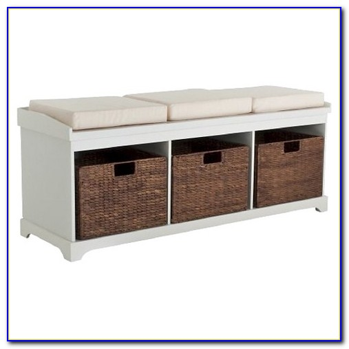 White Hallway Storage Bench With Baskets And Cushion