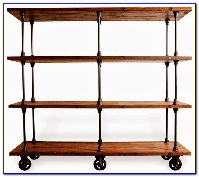 Wood And Metal Bookcase On Wheels