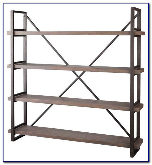 Wood And Metal Bookcase With Drawers