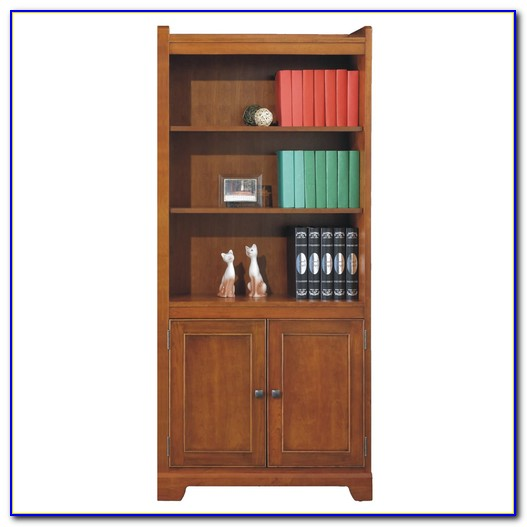 Wood Bookcase With Glass Doors