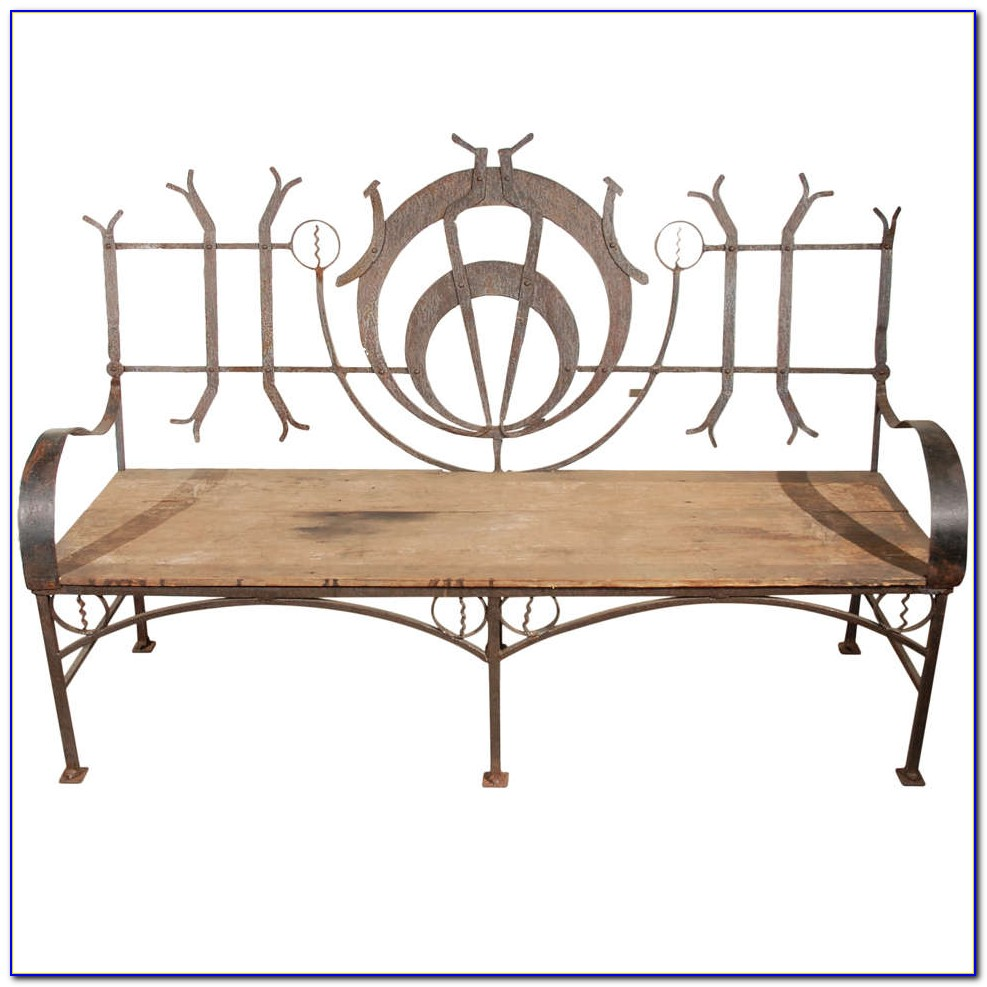 Wrought Iron Wood Garden Bench