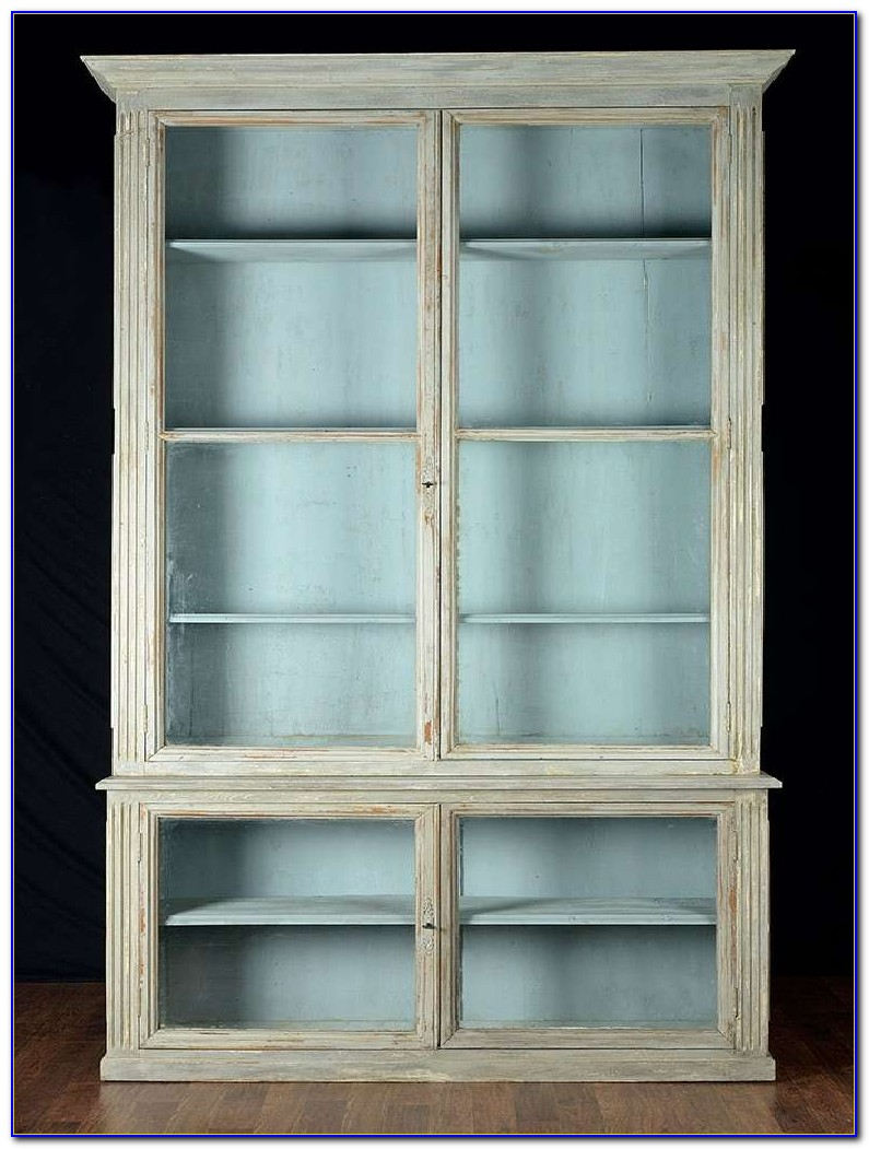 Antique Oak Bookcase With Leaded Glass Doors