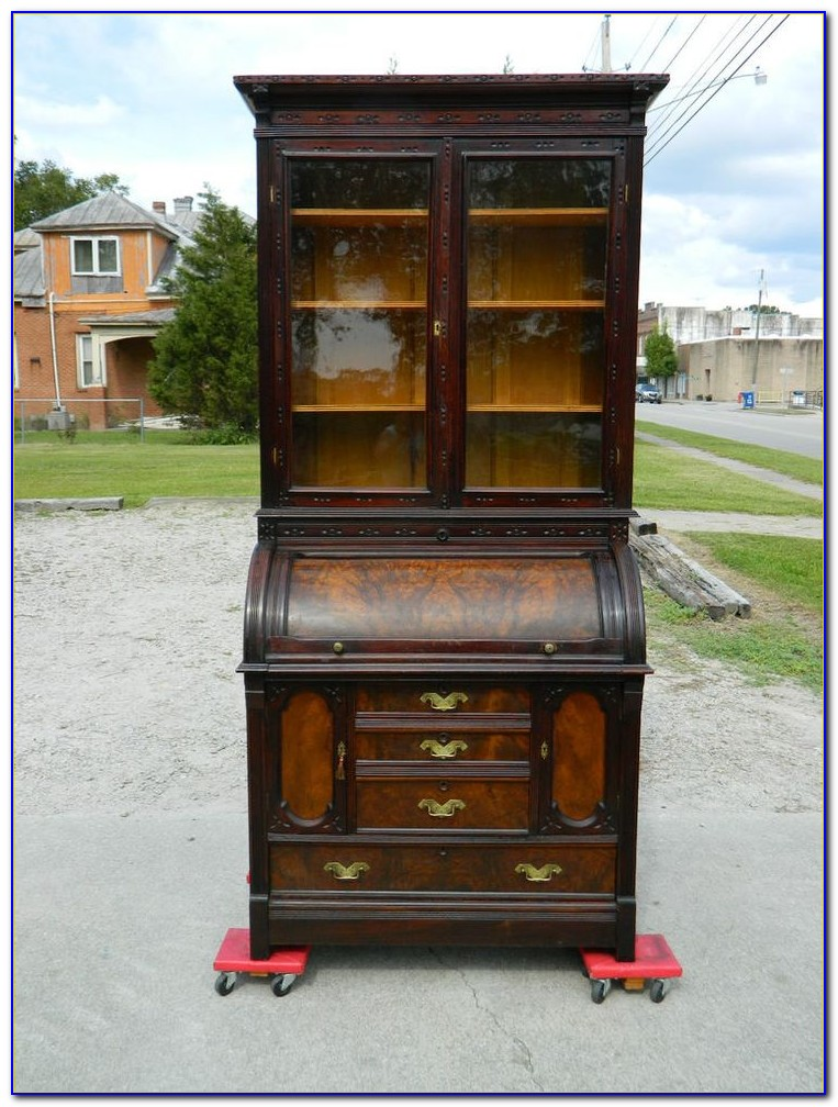 Antique Secretary Desk With Side Bookcase